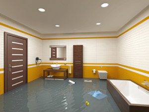 flooding bathroom interior ( 3D rendering )